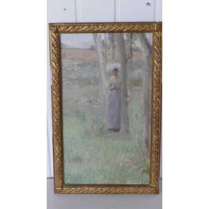 Femme Dans Un Sous Bois, Huile Sur Toile Signée A De Richemont, XIX ème