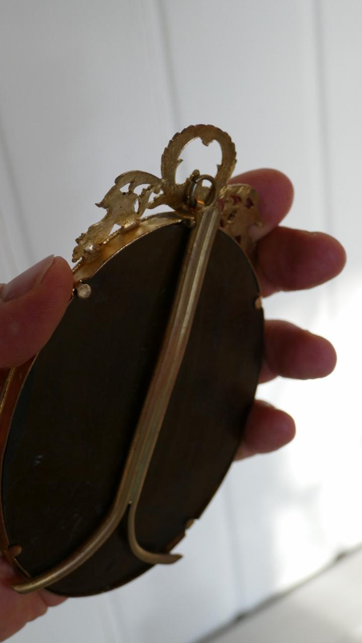 Cadre Photo Ou Miniature Style Louis XVI En Bronze Doré, XIX ème