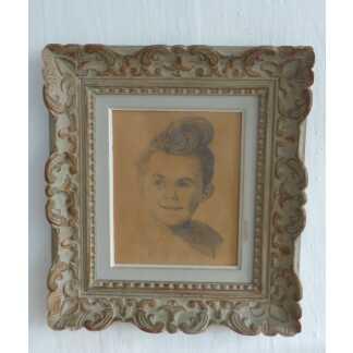 Portrait d'Enfant, Dessin Au Crayon, époque Vers 1950, Cadre Montparnasse