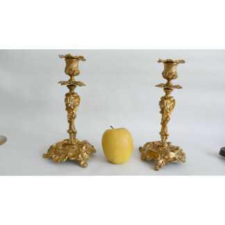 Henri Picard, Paire De Bougeoirs En Bronze Doré De Style Rocaille, Pampres Vigne