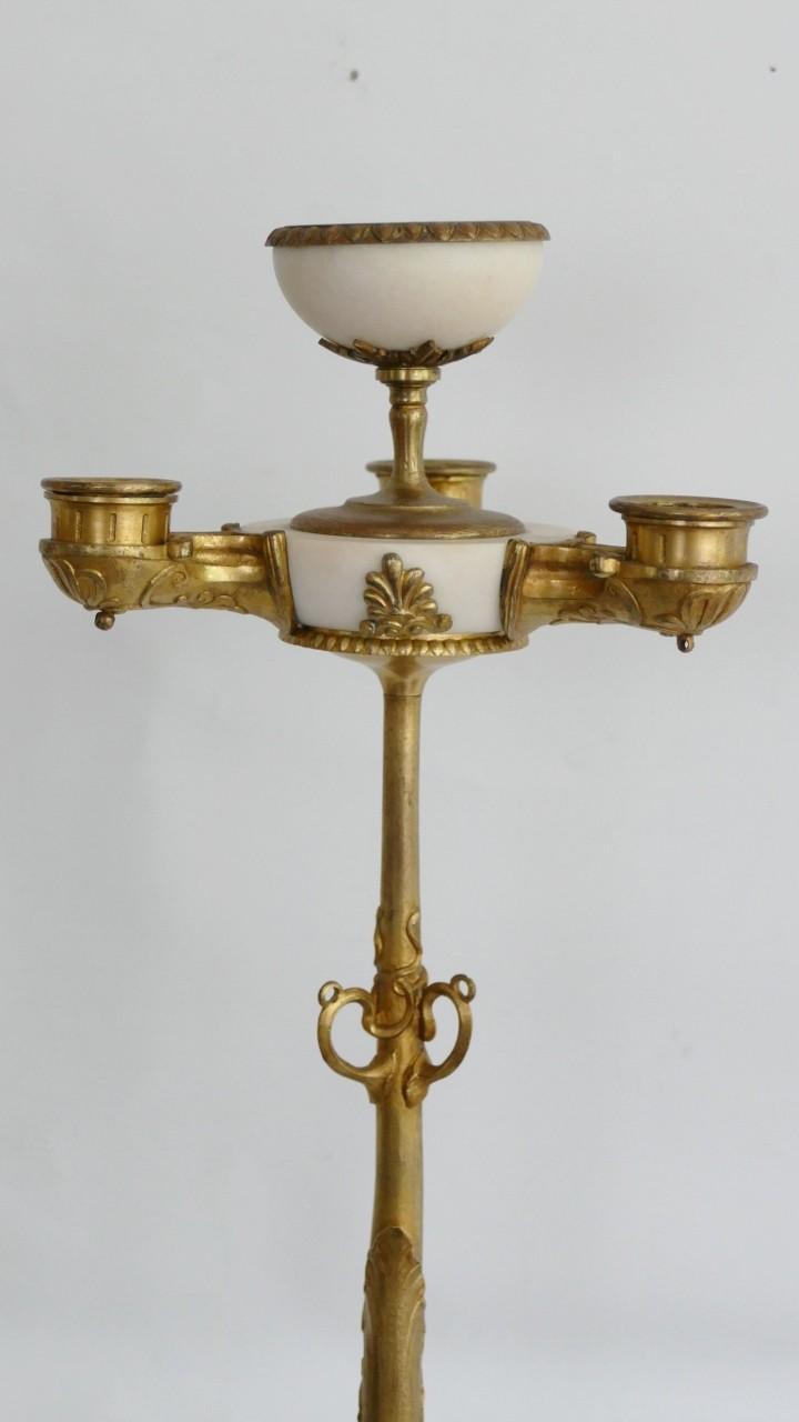 Paire d'Importants Candélabres Restauration En Bronze Doré Et Marbre De Carrare, époque XIX ème