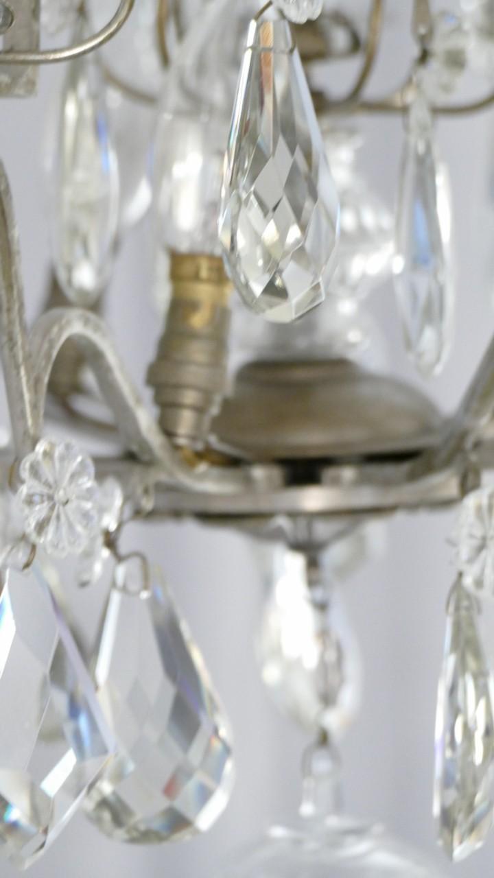 Bronze Argenté, Lustre Cage à Pampilles De Cristal, Baccarat, Début XX ème