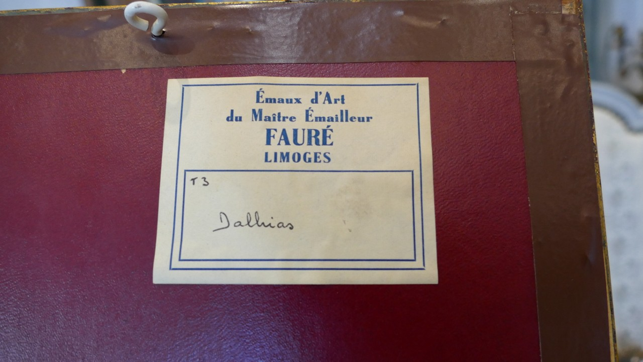 Camille Fauré, Plaque En émail, Bouquet De Fleurs, émaux De Limoges