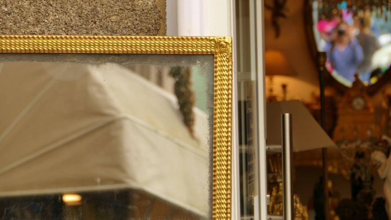 Grand Miroir Rectangulaire En Bois Doré à La Feuille, Glace Mercure, époque XIX ème