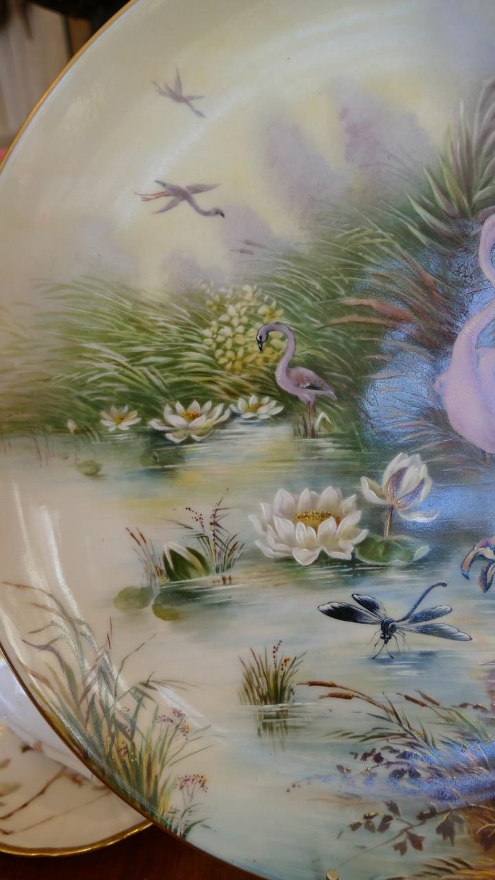 Plat Aux Flamands Roses, Libellule Et Nénuphars, Porcelaine Peint à La Main, Limoges, XIX ème