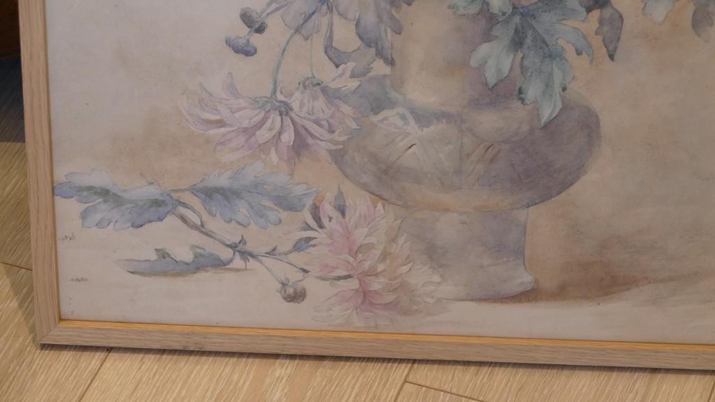 Bouquet De Chrysanthèmes, Aquarelle Signée Mathilde Levant