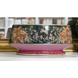 Grande Jardinière Ovale En Porcelaine Peinte Main, Décor Fleurs En Papillons, XIX ème