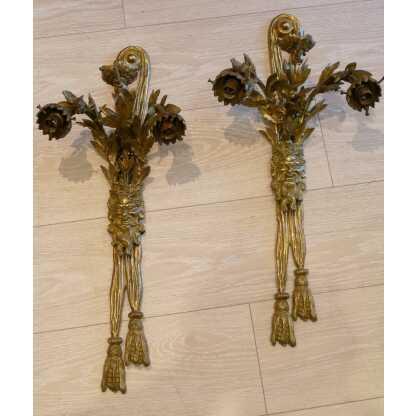 Paire De Grandes Appliques En Bronze, Dionysos, Signées Lebrun-tardieu, XIX ème