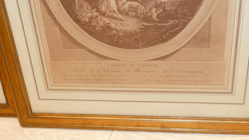 Paire De Gravures XVIII ème Départ Et Arrivée Du Courrier, d'Après Boucher