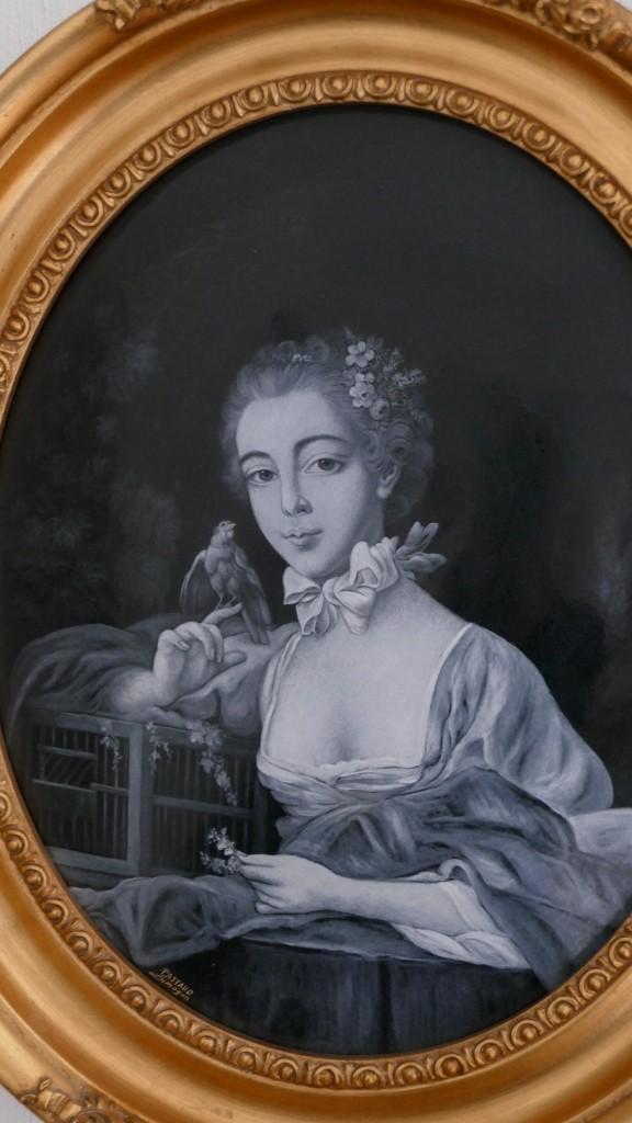 Grand émail, émaux De Limoges En Grisaille, Mme Beaudouin, Fille De François Boucher