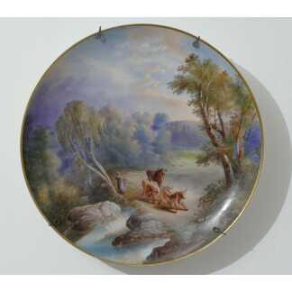 Tableau En Porcelaine Peint à La Main, Vaches Dans Paysage Bucolique, époque XIX ème