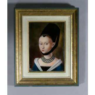 Portrait De Jeune Fille d'Après Petrus Christus, émail De Limoges Signé Fauré