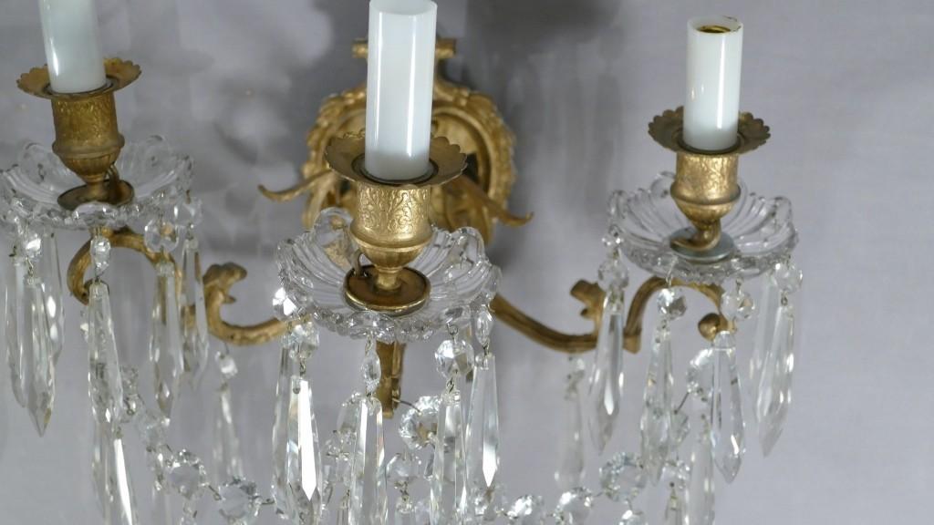 Cristal De Portieux, Paire d'Appliques à Pampilles Et Bronze, époque Napoléon III