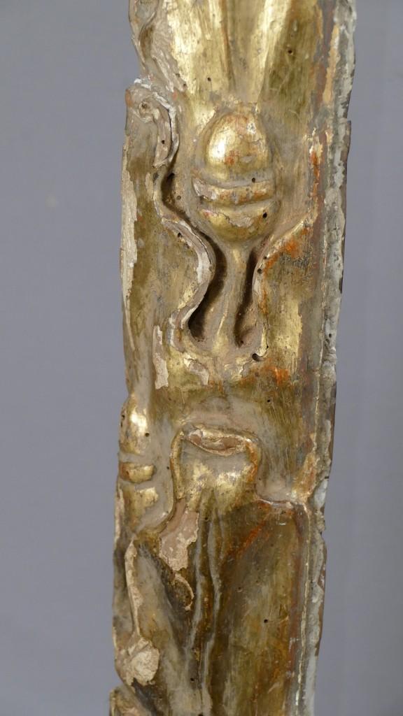 Sculpture En Bois Doré Sculpté, Façon Totem, époque XVIII ème Siècle