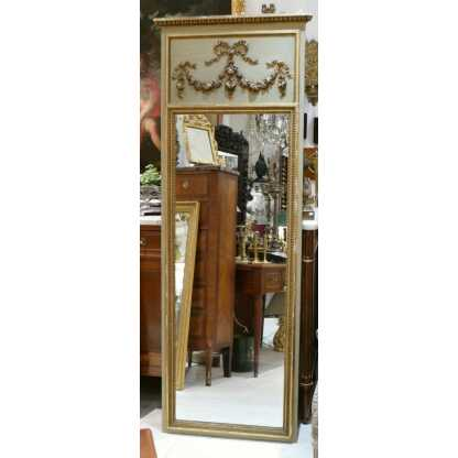 Trumeau Louis XVI d'Entre Deux En Bois Sculpté, Laqué Gris Vert Trianon Et Dorure à La Feuille