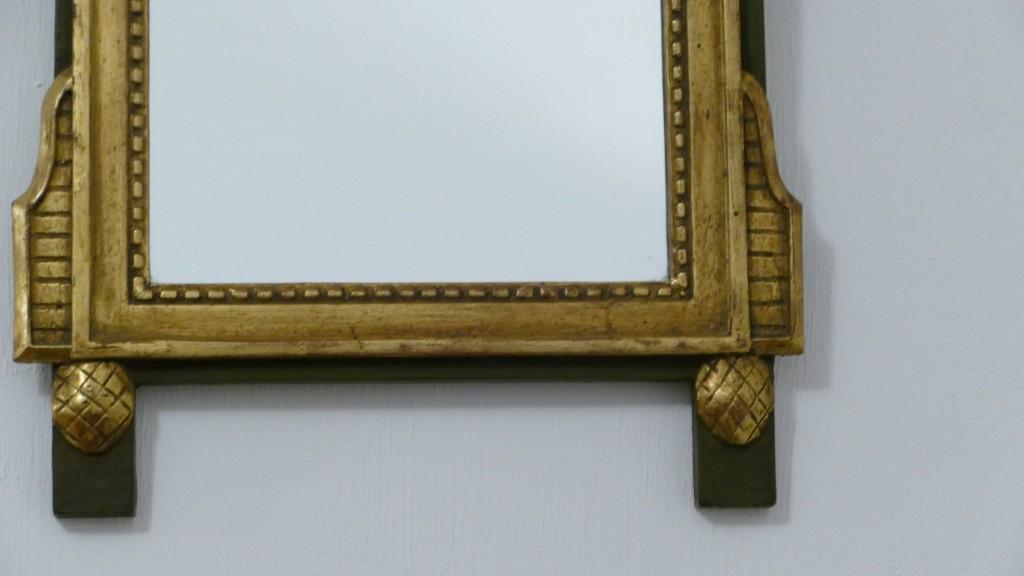 Miroir De Style Louis XVI En Bois Sculpté Et Doré, Modèle à La Lyre, époque XIX ème