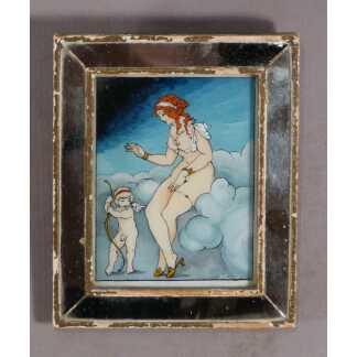 Miniature En Fixé Sous Verre, Aphrodite Et Cupidon, époque Art Déco