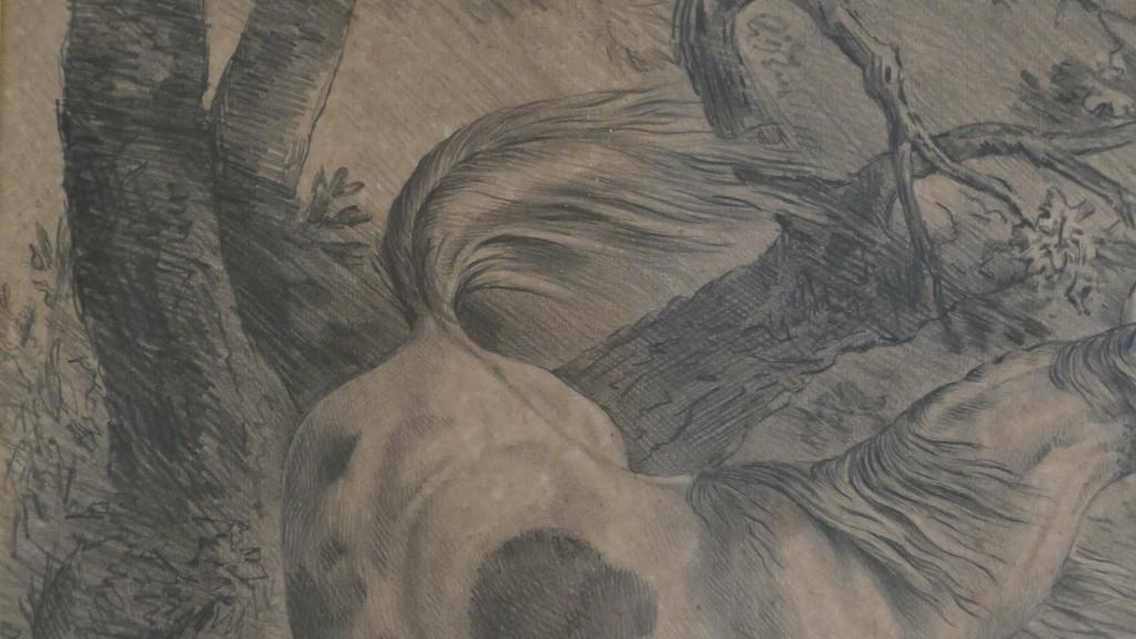 Paire De Dessins équins, Chevaux Sauvages Dans La Nature, Signé De Gueney