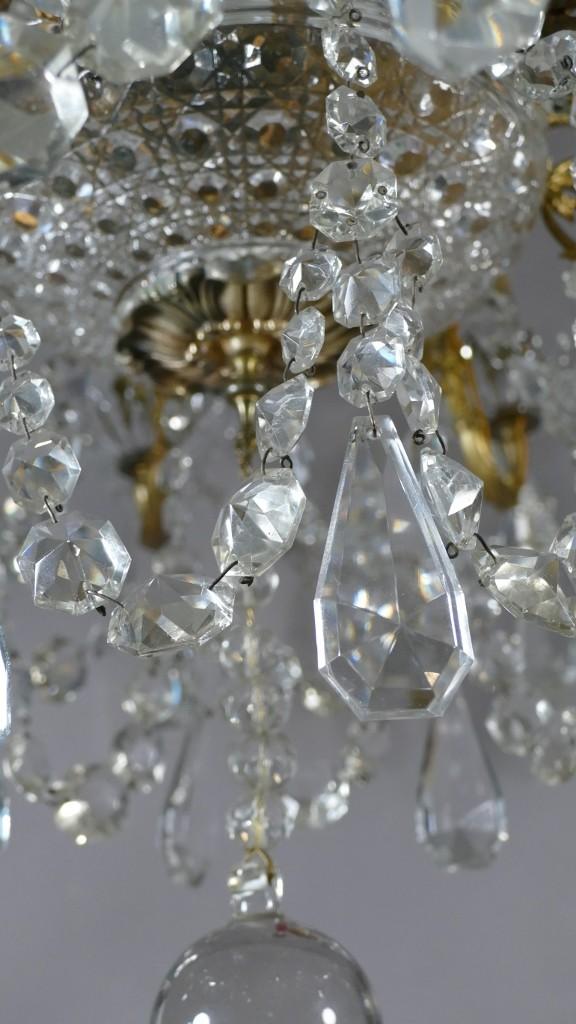 Baccarat, Lustre En Bronze Et Pampilles De Cristal Signé, époque Début XX ème