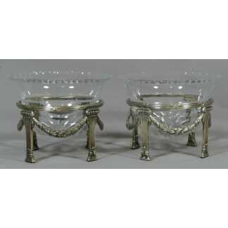 Paire De Rafraichissoirs Louis XVI En Cristal Et Métal Argenté Wmf