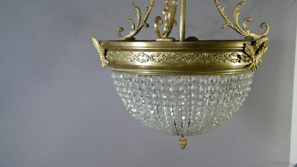 Lustre Sac De Perles Louis XVI En Bronze Et Laiton Doré, Fin XIX ème