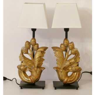 Paire De Lampes Bois Doré Sculpté, époque XVIII ème