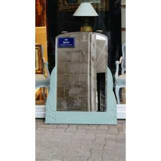 Miroir De Cheminée époque Art Déco En Bois Sculpté Laqué Et Glace Biseautée